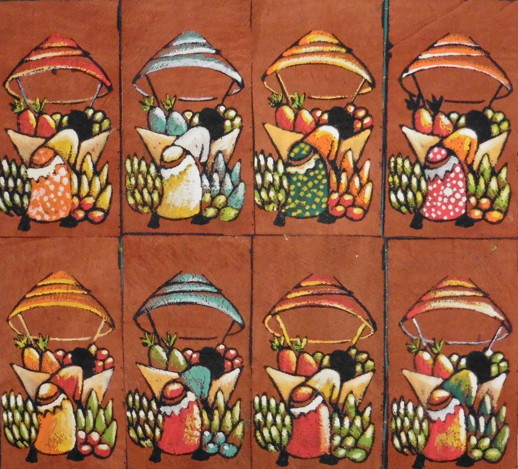 Ugandan Bark Cloth Painting - Woman With Produce