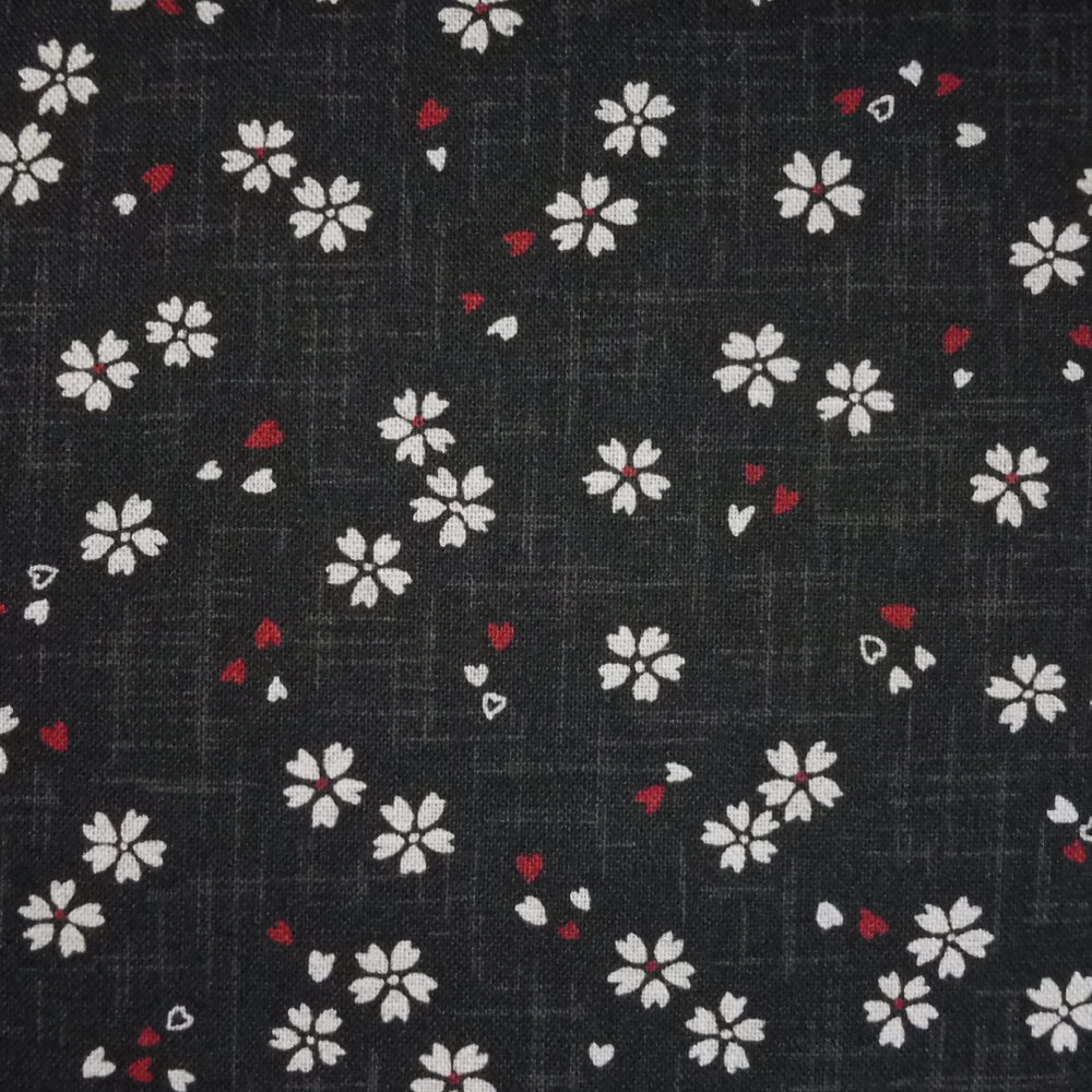 Japanese Quilting Print - Black Blossom with Bud