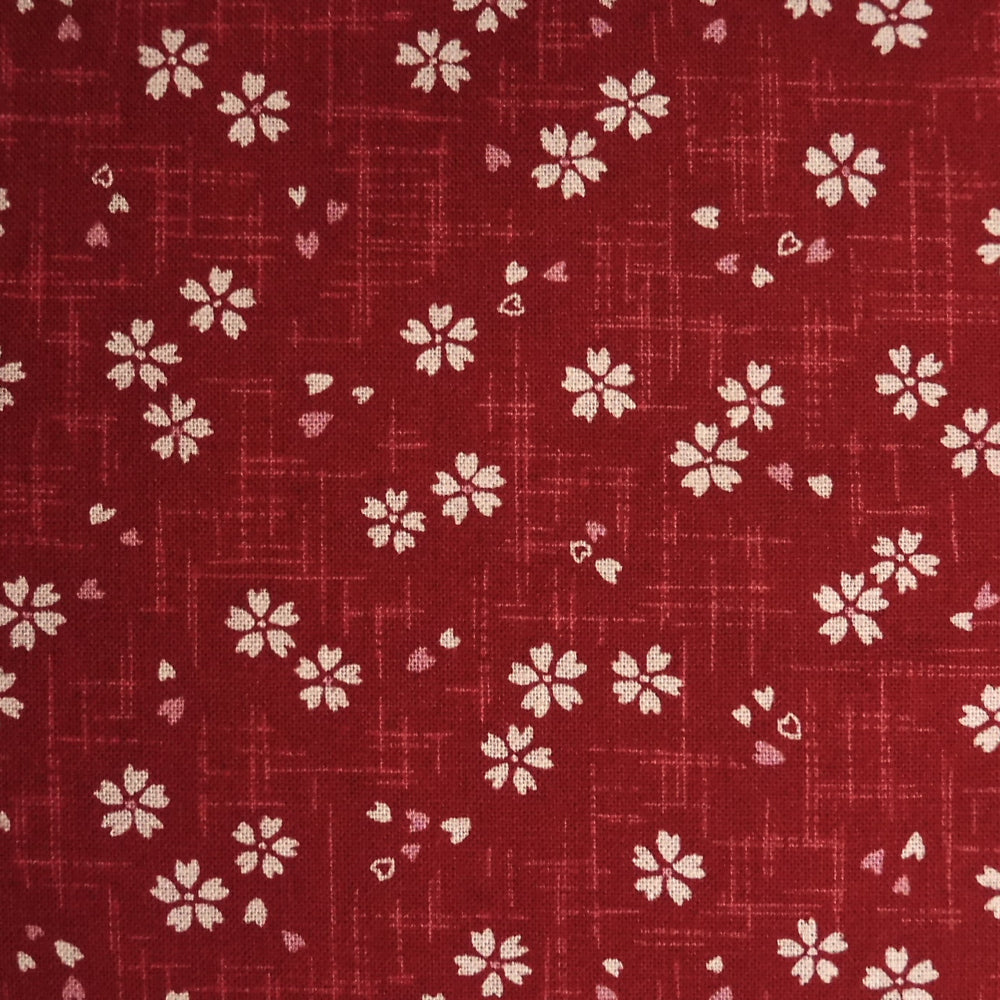 Japanese Quilting Print - Red Blossom with Bud