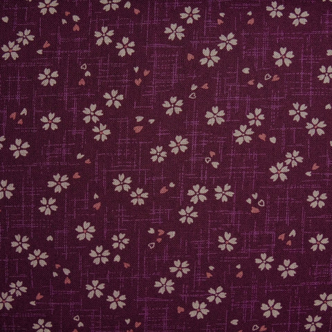 Japanese Quilting Print - Purple Blossom with Bud