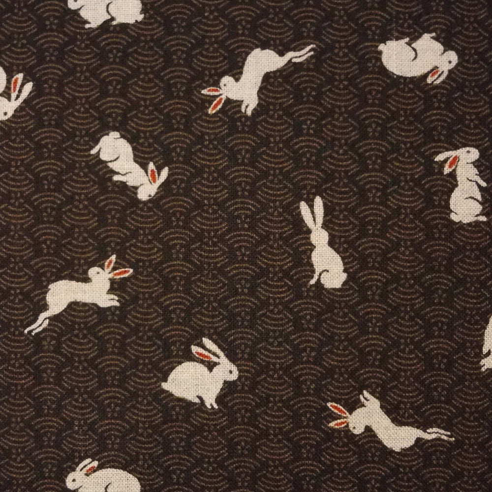 Japanese Quilting Print - Brown Rabbit on Hill