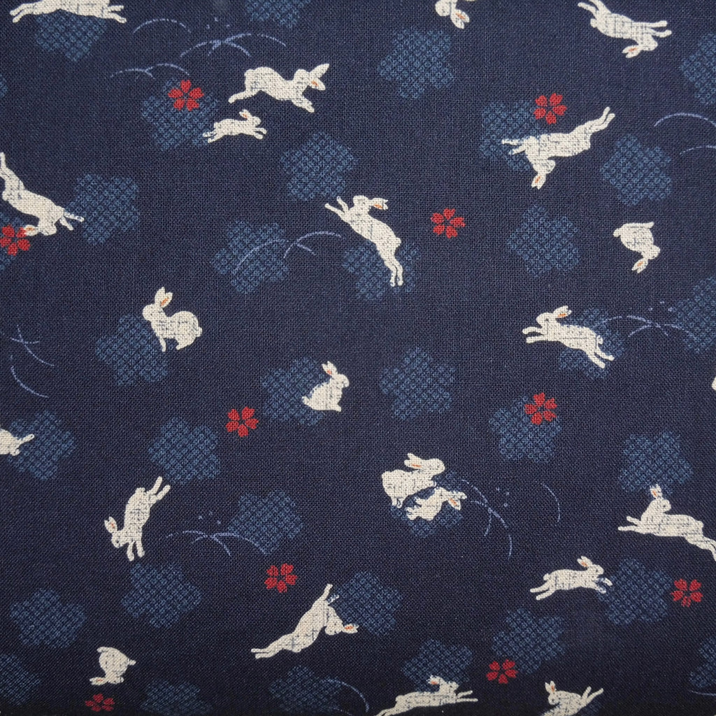 Japanese Quilting Print - Dark Blue Rabbit with Blossom