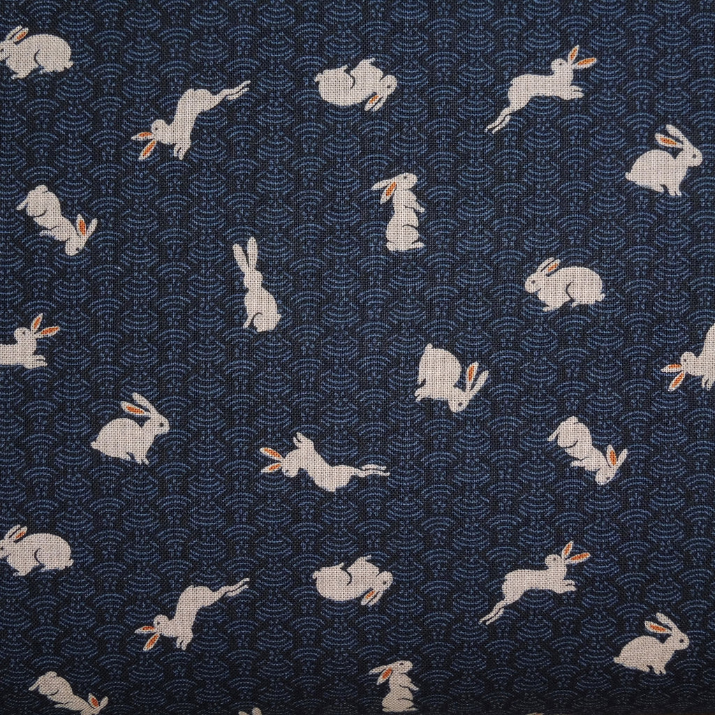 Japanese Quilting Print - Dark Blue Rabbit on Hill