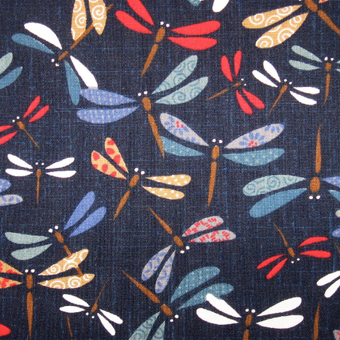 Japanese Quilting Print - Multicoloured Dragonflies on Dark Blue