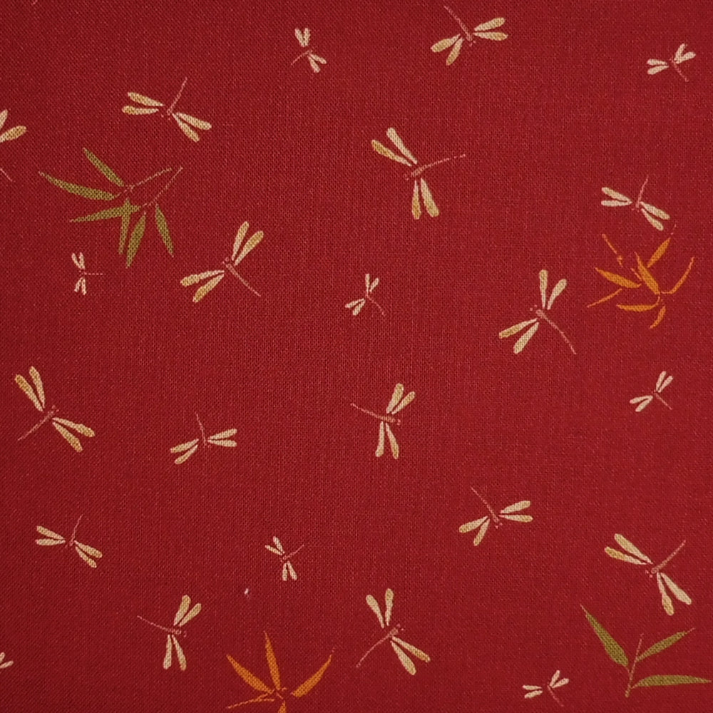 Japanese Quilting Print - Burgundy Dragonfly with Bamboo