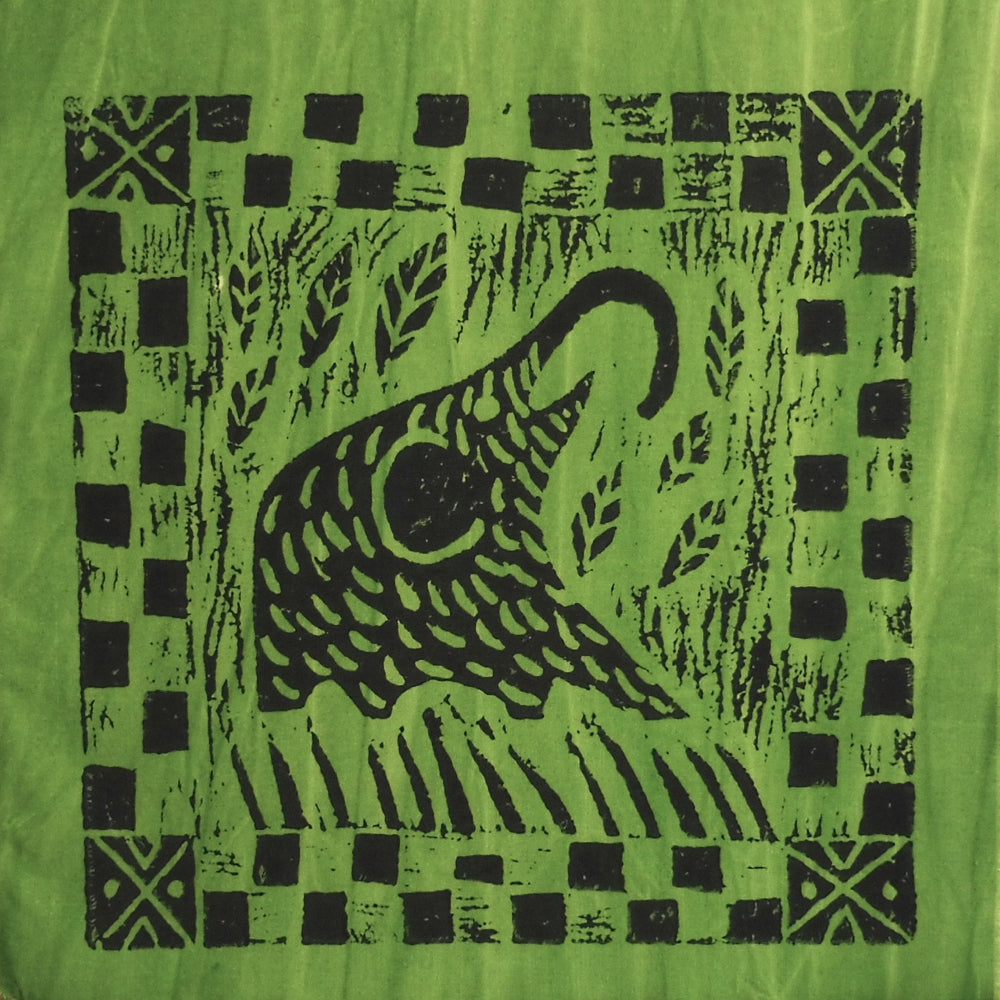 South African Panel - Elephant Eating in Avocado Green