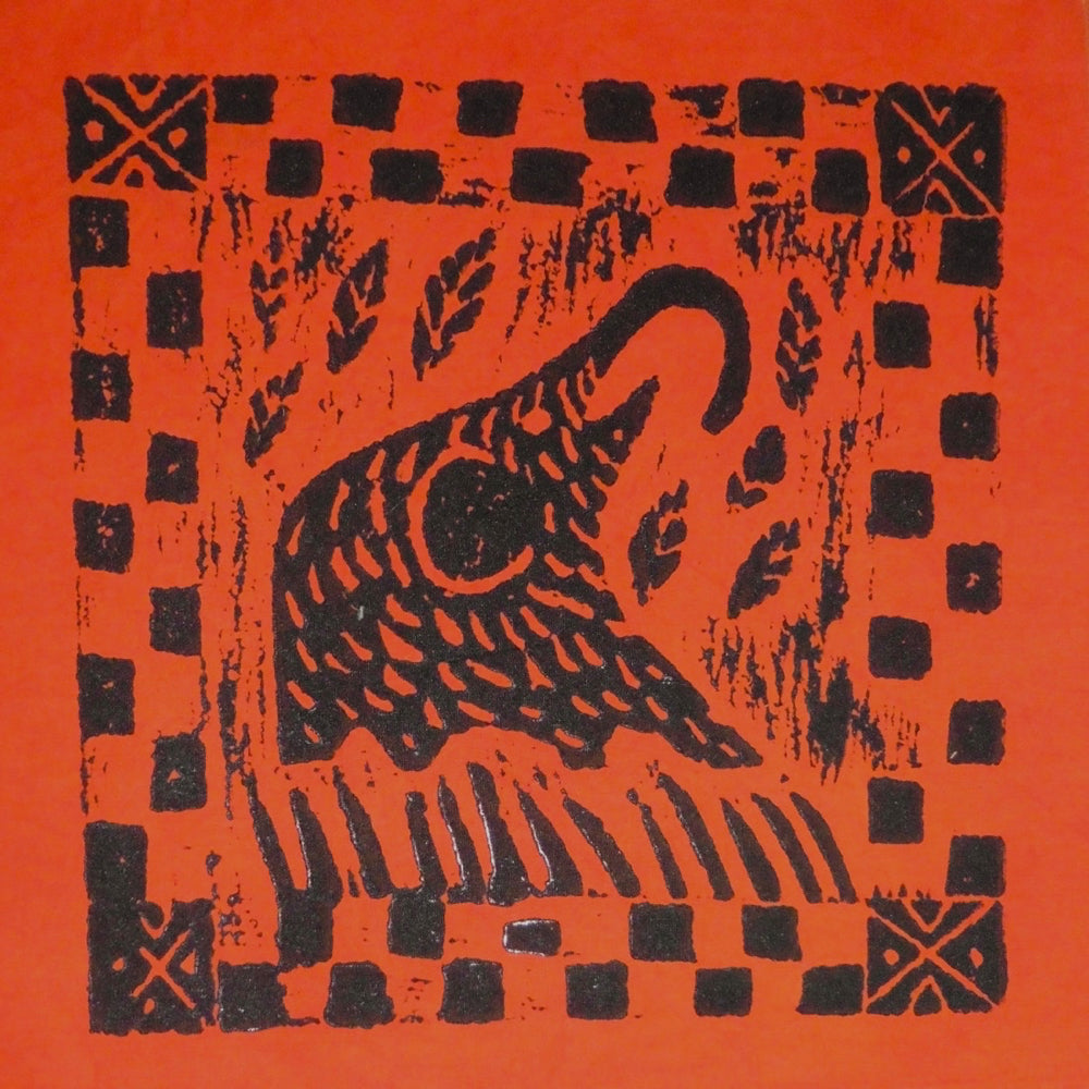 South African Panel - Elephant Eating in Orange