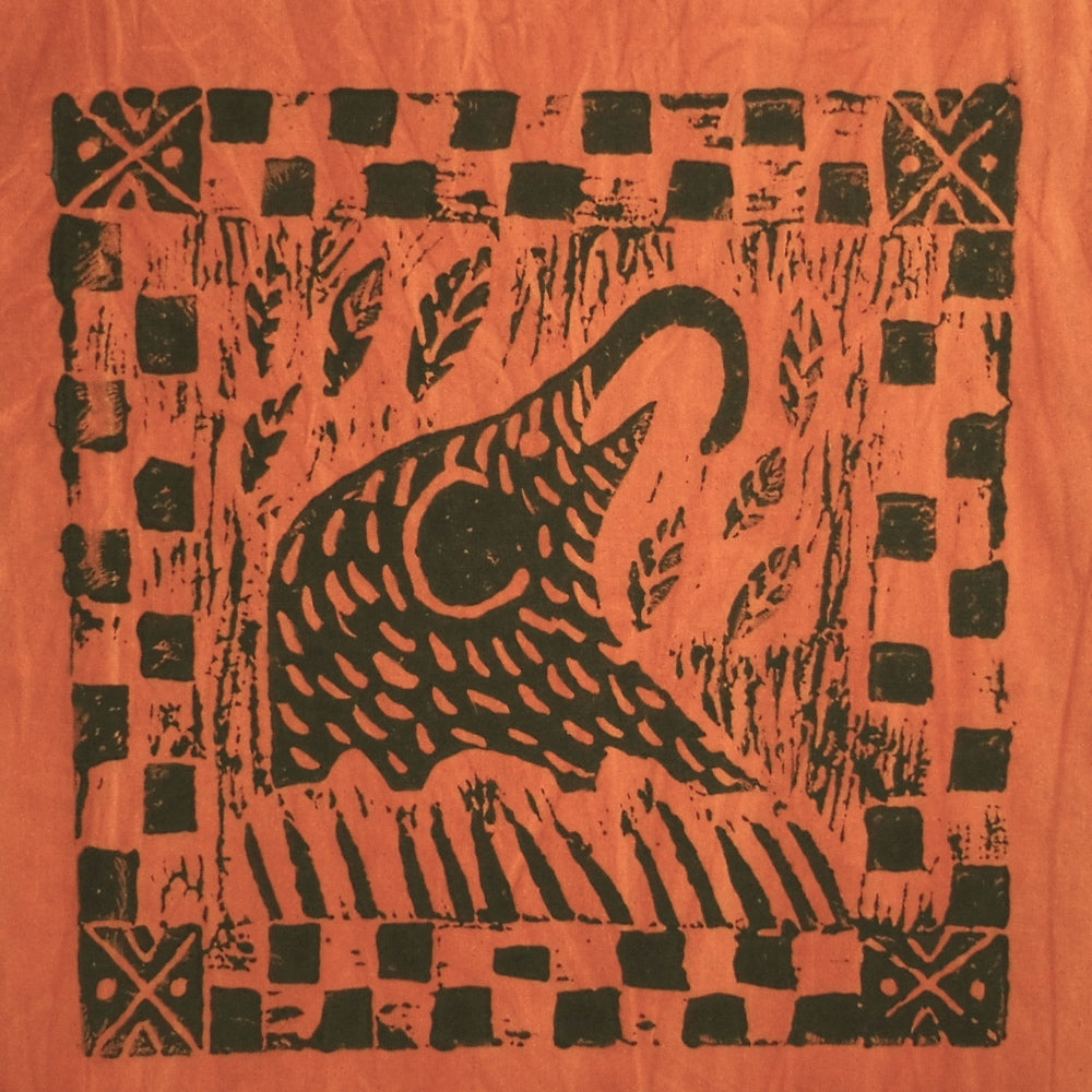 South African Panel - Elephant Eating in Pumpkin Orange