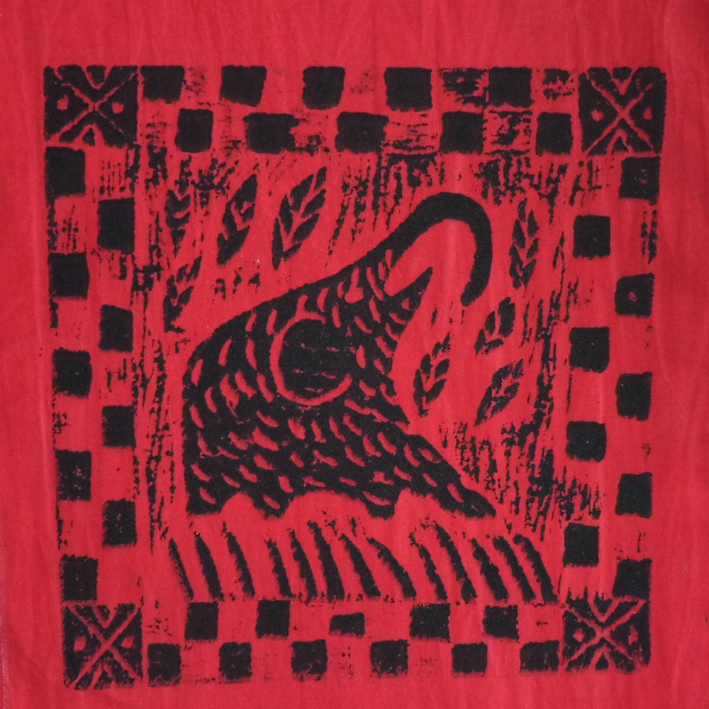 South African Panel - Elephant Eating in Red