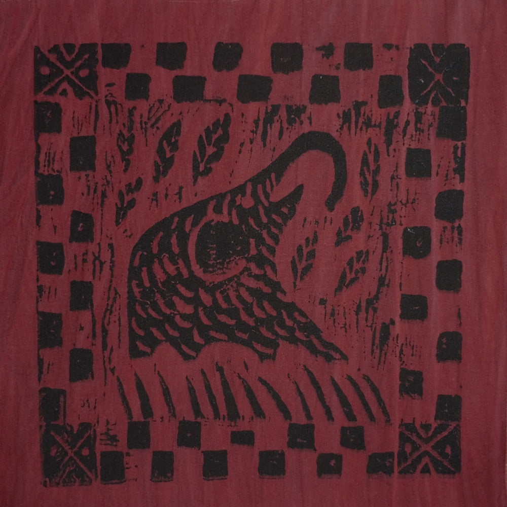 South African Panel - Elephant Eating in Dark Red