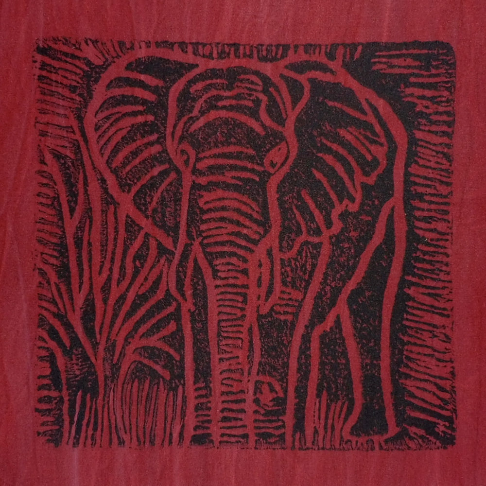South African Panel - Elephant in Dark Red