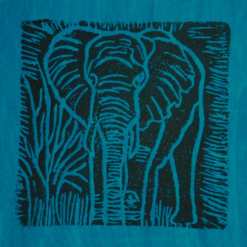 South African Panel - Elephant in Teal