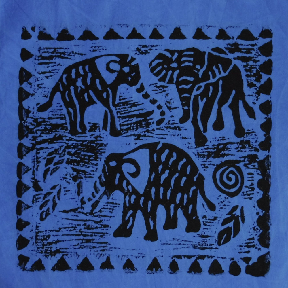 South African Panel - Elephant Trio in Purplish Blue