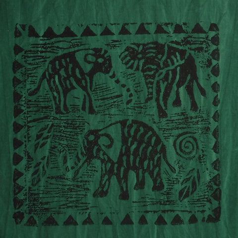 South African Panel - Elephant Trio in Dark Green