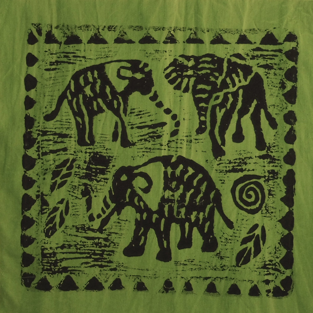 South African Panel - Elephant Trio in Avocado Green