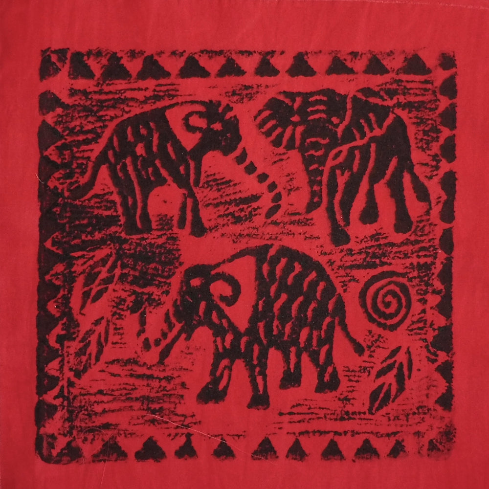 South African Panel - Elephant Trio in Red
