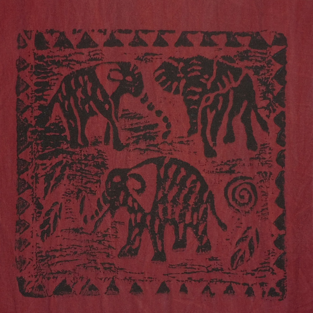 South African Panel - Elephant Trio in Dark Red
