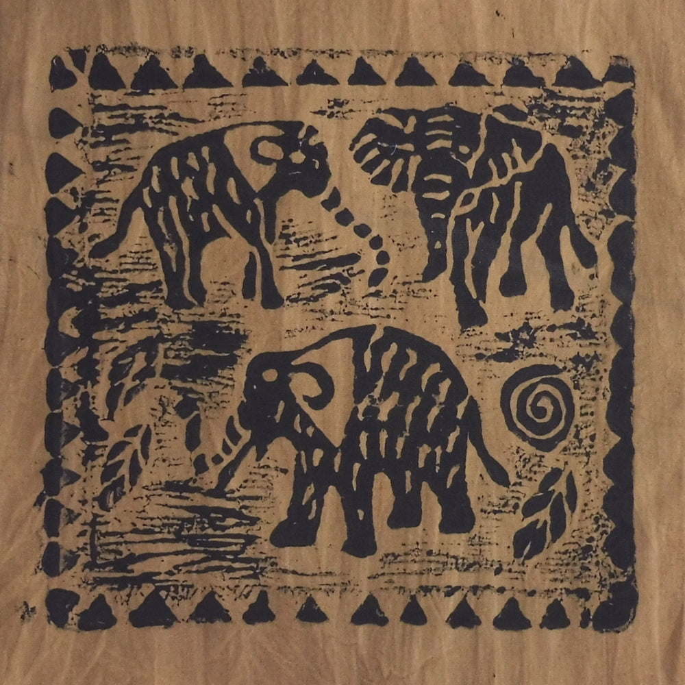 South African Panel - Elephant Trio in Tan