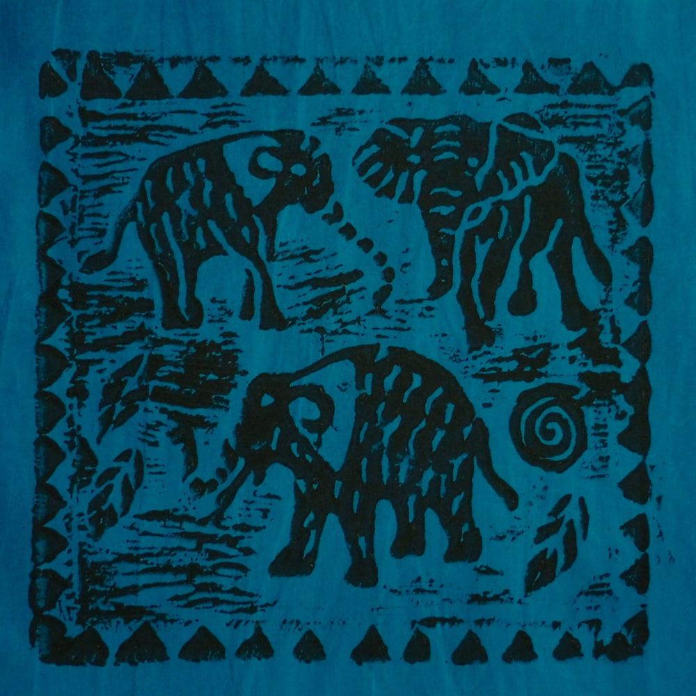 South African Panel - Elephant Trio in Teal