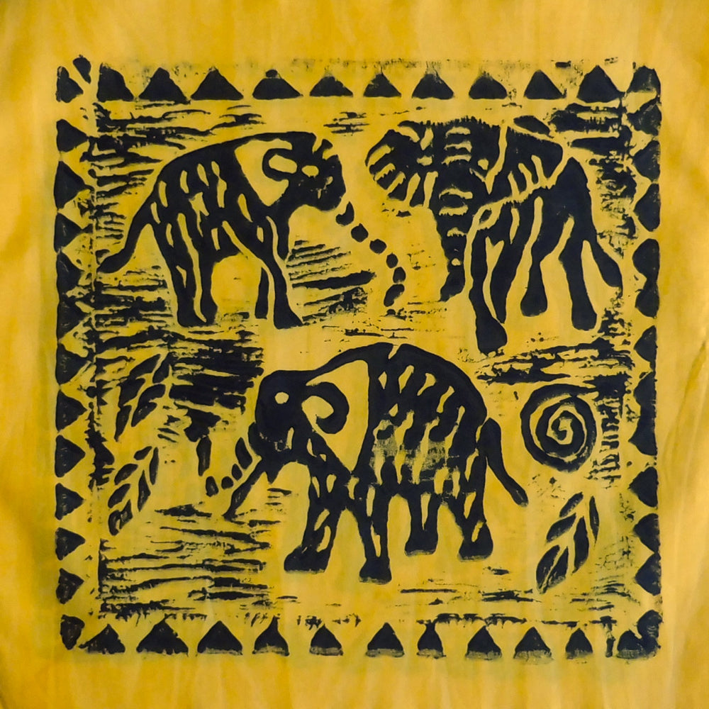 South African Panel - Elephant Trio in Bright Yellow