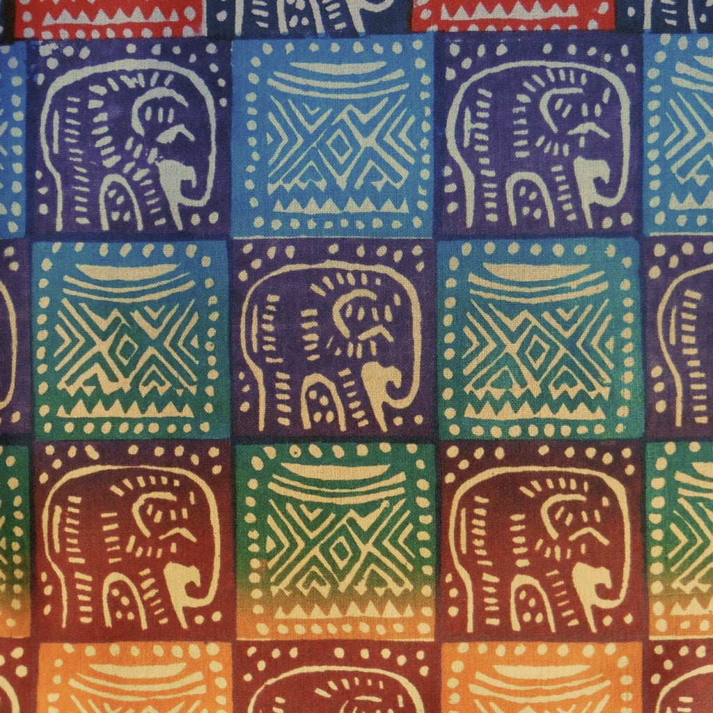 Zimbabwean Batik - Bright Elephant with Headrest