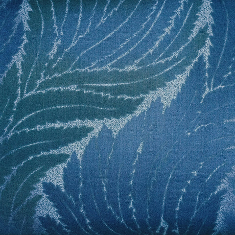 Japanese Quilting Print - Bright Dark Blue Wavy Fern