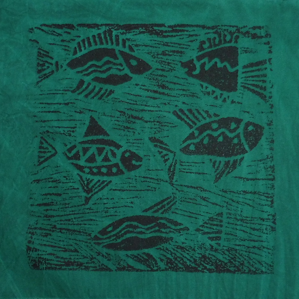 South African Panel - Fish Swimming in Dark Aquamarine Green