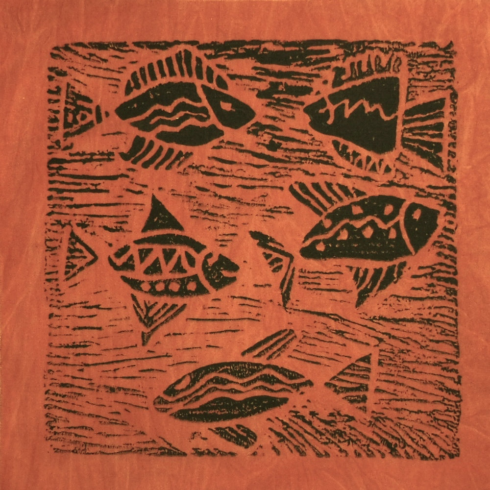 South African Panel - Fish Swimming in Pumpkin Orange