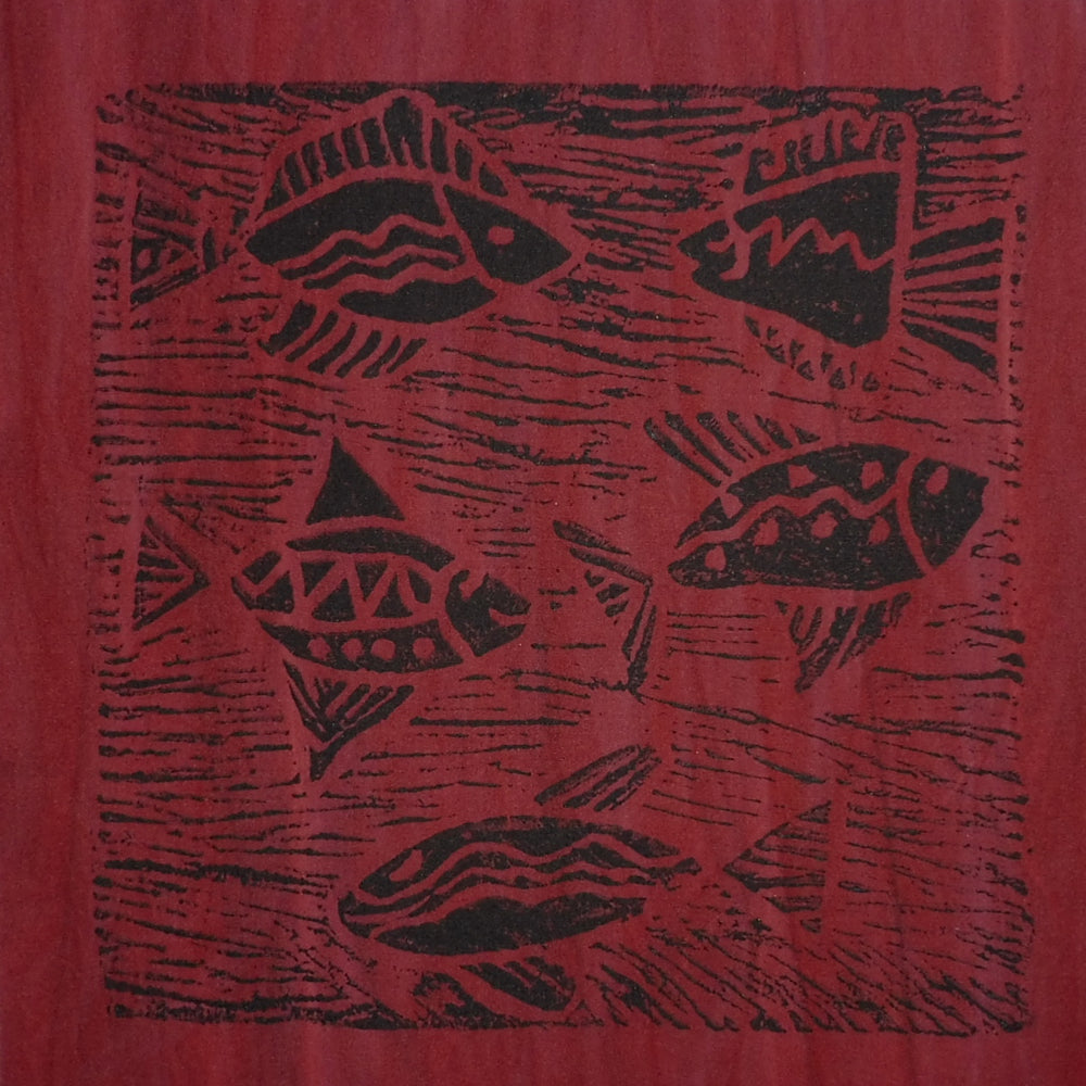 South African Panel - Fish Swimming in Dark Red
