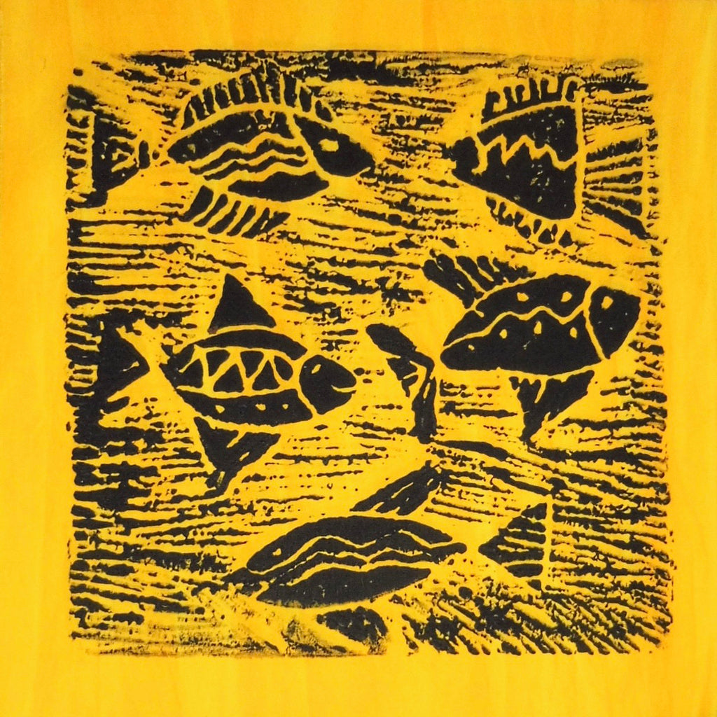 South African Panel - Fish Swimming in Yellow