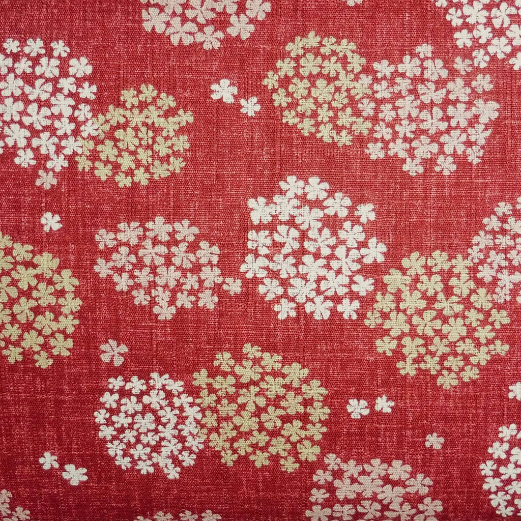 Japanese Dobby Cloth - Red Flower Cluster