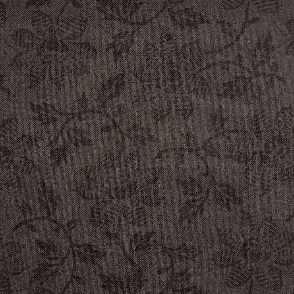 Japanese Quilting Print - Dark Brown Trailing Flower