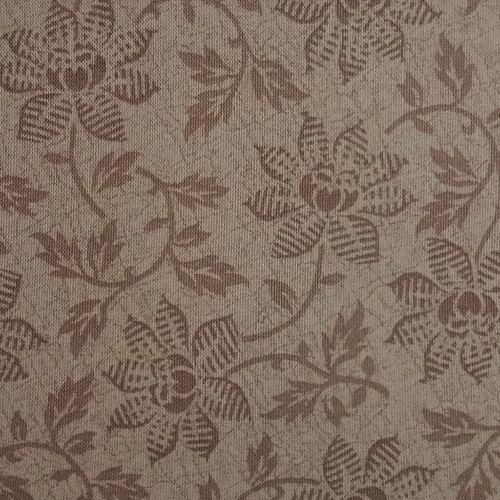 Japanese Quilting Print - Light Brown Trailing Flower