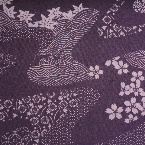 Japanese Quilting Print - Purple Garden