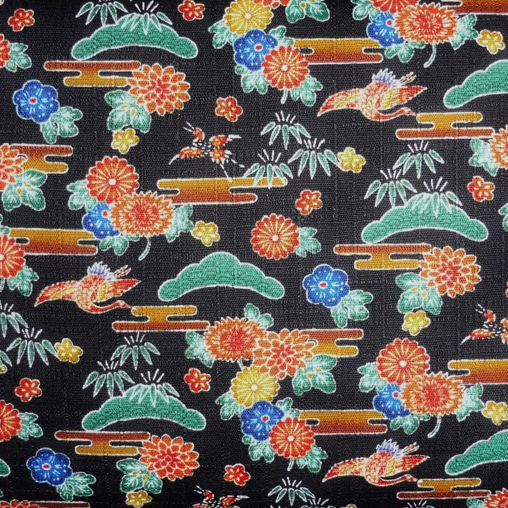 Japanese Dobby Cloth - Black Crane Garden