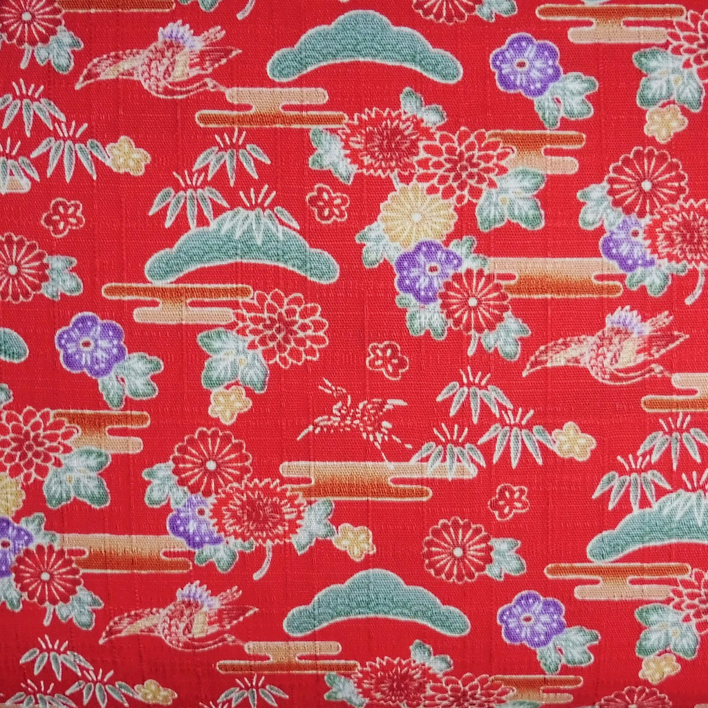 Japanese Dobby Cloth - Bright Red Crane Garden