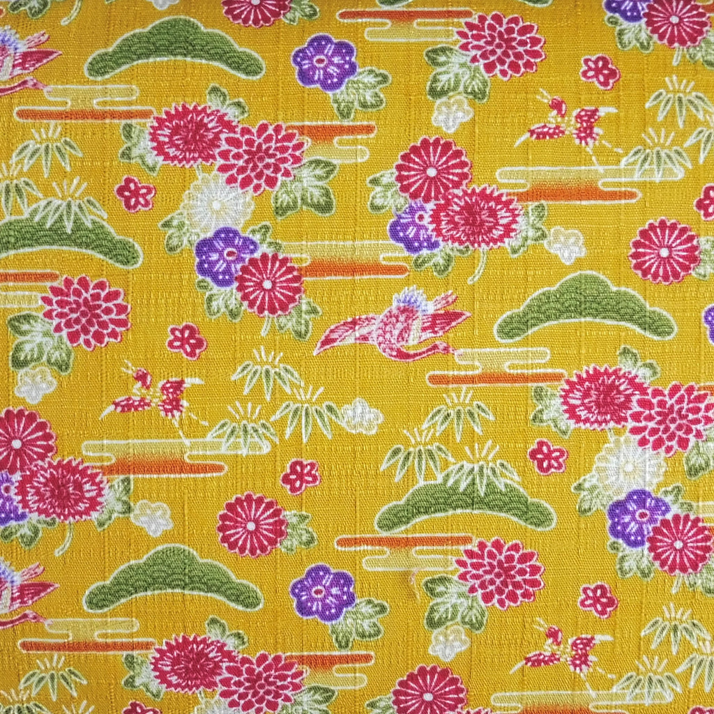Japanese Dobby Cloth - Bright Yellow Crane Garden