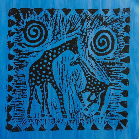 South African Panel - Giraffe with Baby in Purplish Blue