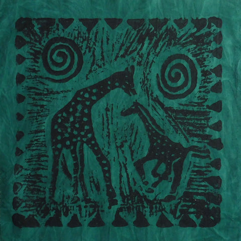 South African Panel - Giraffe with Baby in Dark Green