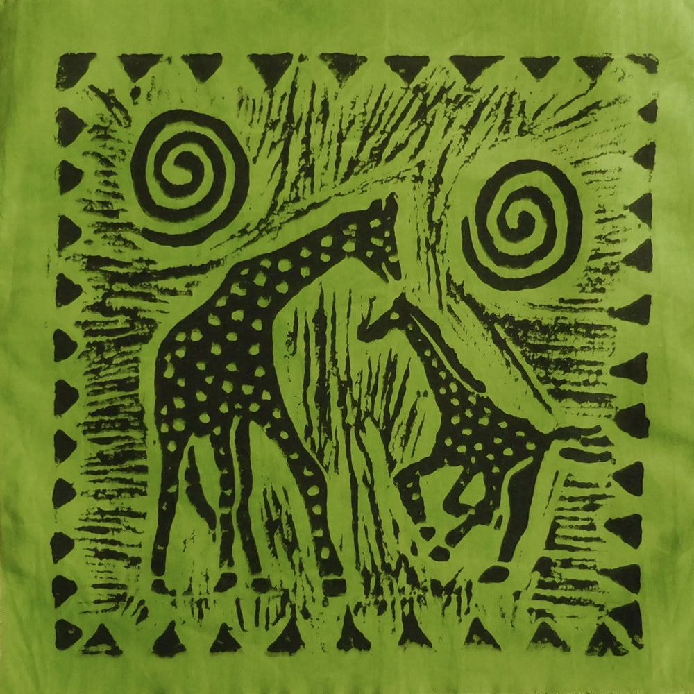 South African Panel - Giraffe with Baby in Avocado Green