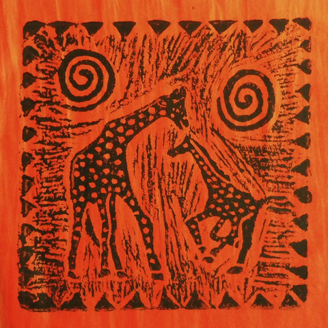 South African Panel - Giraffe with Baby in Orange
