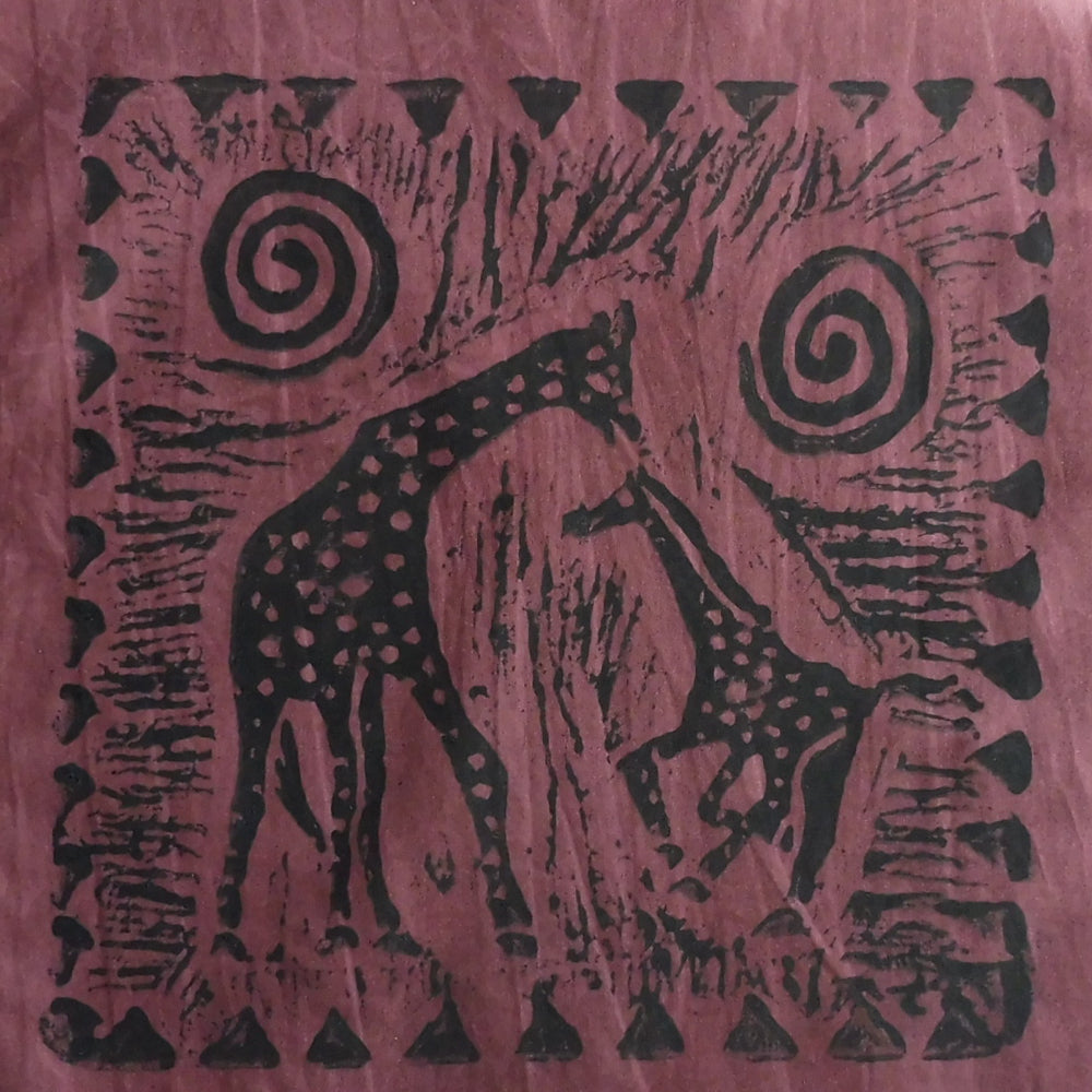 South African Panel - Giraffe with Baby in Muddy Plum