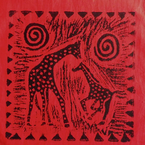 South African Panel - Giraffe with Baby in Red