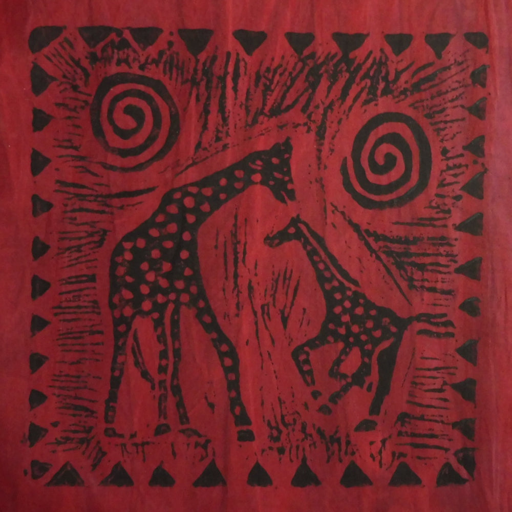 South African Panel - Giraffe with Baby in Dark Red