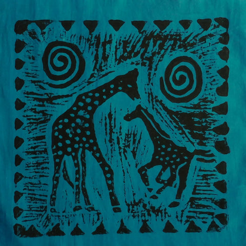 South African Panel - Giraffe with Baby in Teal