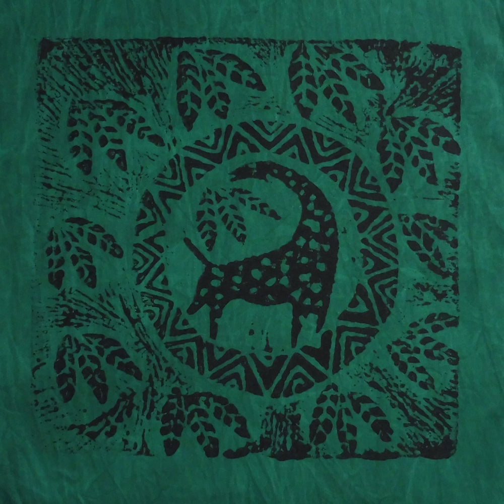 South African Panel - Giraffe Circled in Dark Green