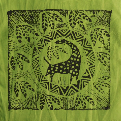 South African Panel - Giraffe Circled in Avocado Green