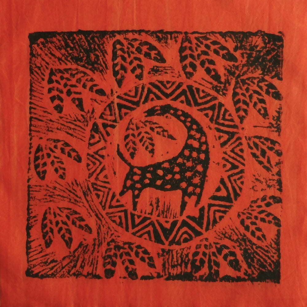 South African Panel - Giraffe Circled in Orange