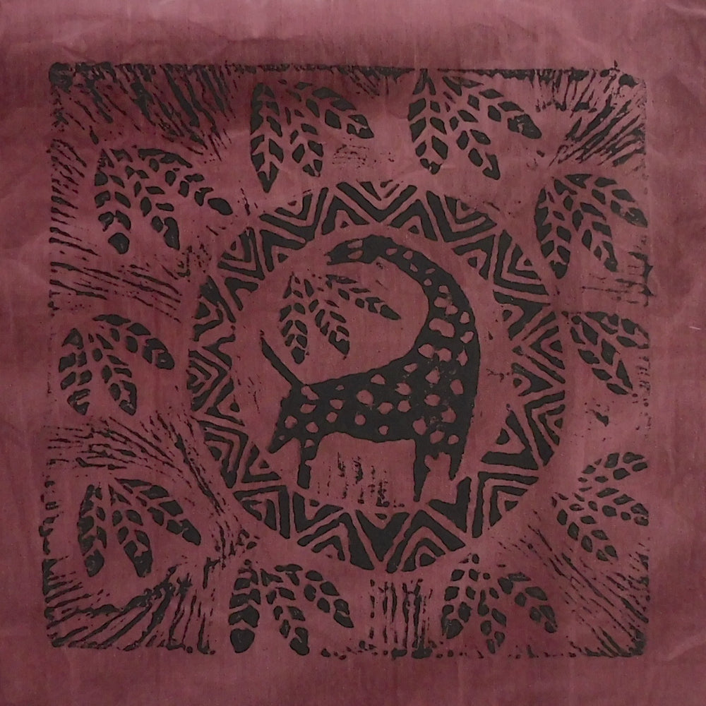 South African Panel - Giraffe Circled in Plum