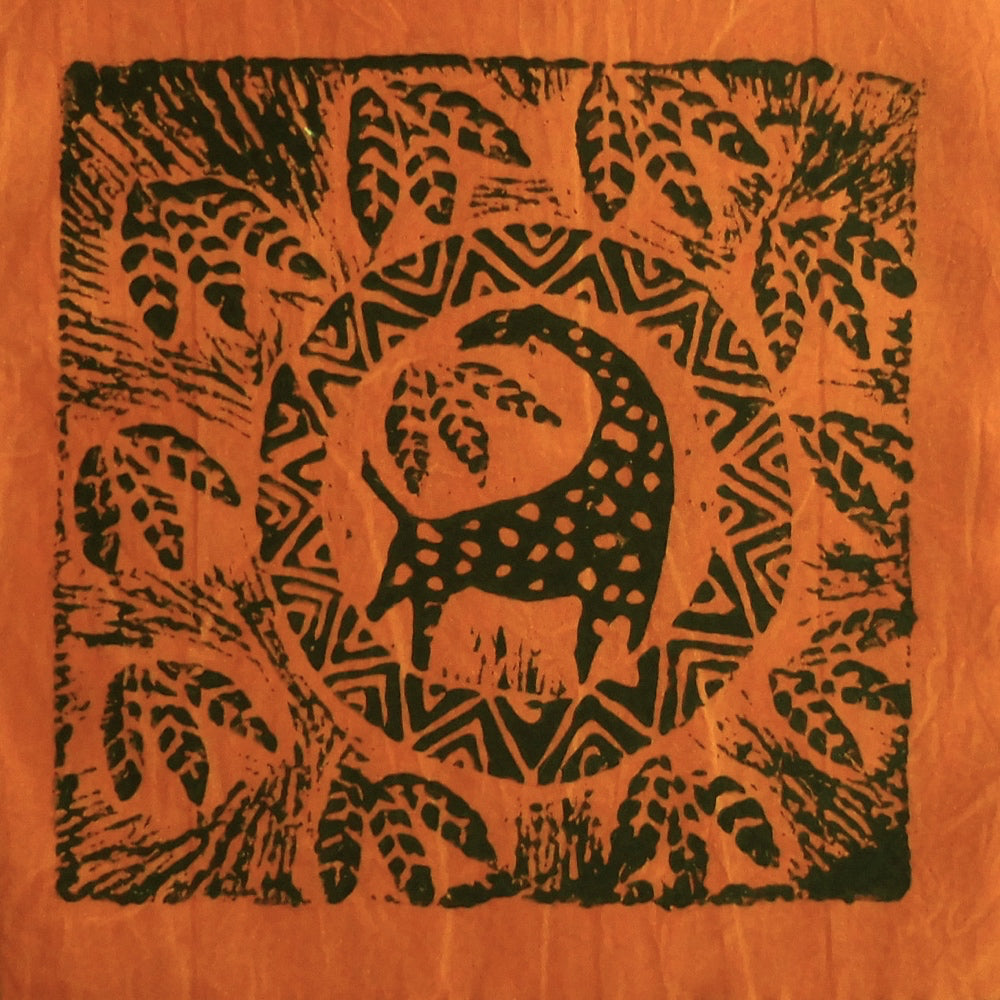 South African Panel - Giraffe Circled in Pumpkin Orange
